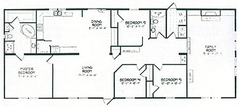 Double wide mobile home floor plans double wide home for Double wide 4 bedroom floor plans