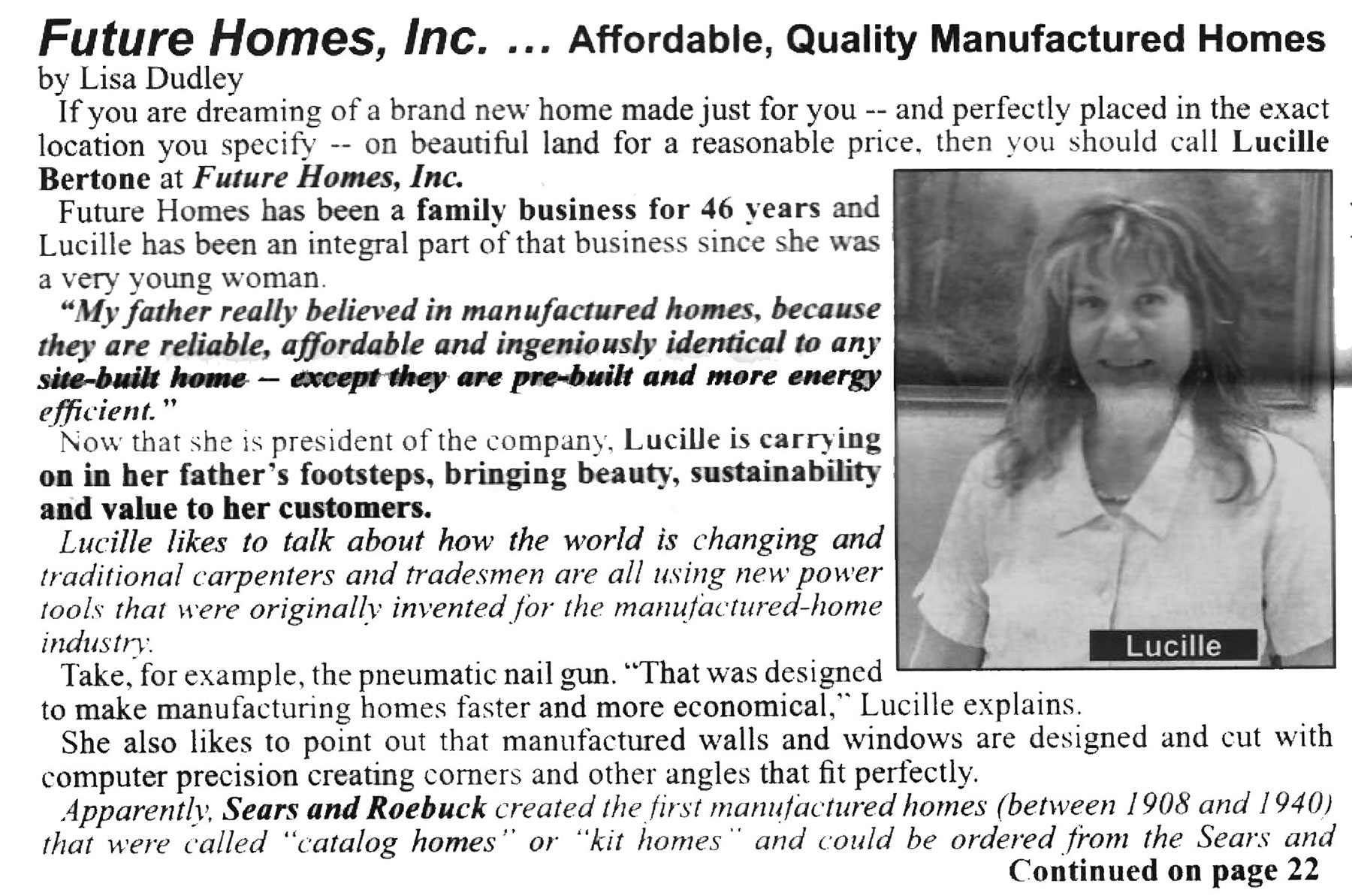 newspaper article: Future Homes...Affordable, Quality Manufactured Homes